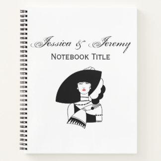 大きい帽子の手袋RLのアールデコの女性 ノートブック