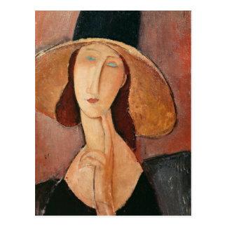 大きい帽子のJeanne Hebuterneのポートレート ポストカード