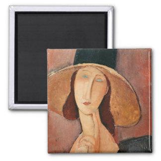 大きい帽子のJeanne Hebuterneのポートレート マグネット