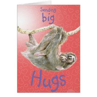 """""""大きい抱擁""""送ります怠惰のミイラおよびベビー。 カスタマイズ カード"""