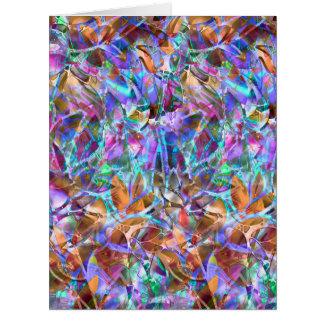 大きい挨拶状の花柄の抽象芸術のステンドグラス カード