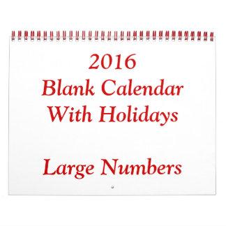 大きい数を用いる赤2016の空白のなカレンダー カレンダー