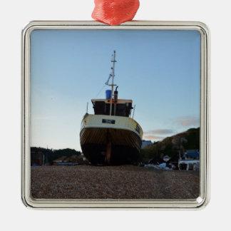 大きい木の漁船 メタルオーナメント