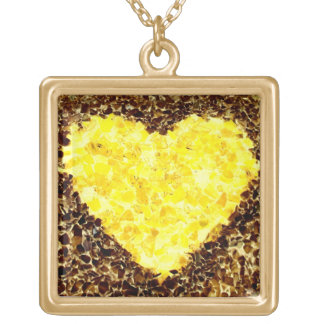 大きい正方形のネックレス ゴールドプレートネックレス