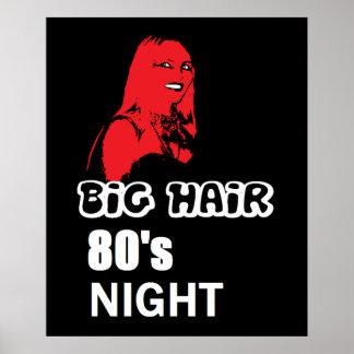 大きい毛の80年代夜ポスター ポスター
