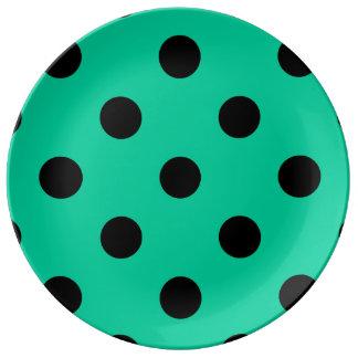 大きい水玉模様-カリブのな緑の黒 磁器プレート