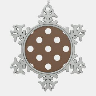 大きい水玉模様-コーヒーの白 スノーフレークピューターオーナメント