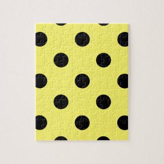 大きい水玉模様-レモンの黒 ジグソーパズル
