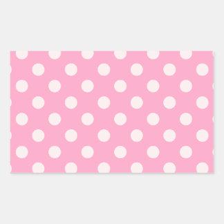 大きい水玉模様-淡いピンクのカーネーションのピンク 長方形シール