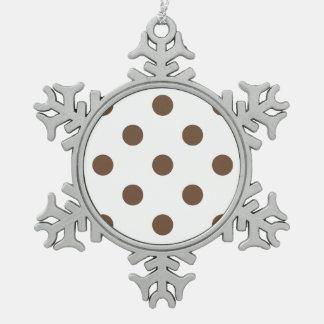 大きい水玉模様-白のコーヒー スノーフレークピューターオーナメント