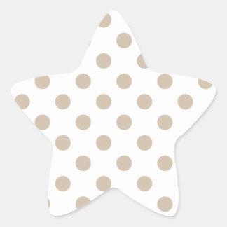 大きい水玉模様-白の暗いバニラ 星シール