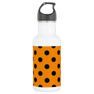 大きい水玉模様-蜜柑の黒 ウォーターボトル