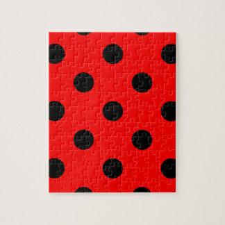 大きい水玉模様-赤の黒 ジグソーパズル