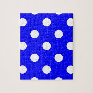 大きい水玉模様-青の白 ジグソーパズル