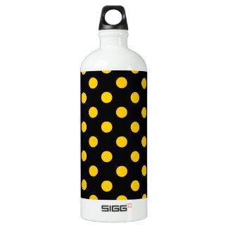 大きい水玉模様-黒の蜜柑の黄色 ウォーターボトル