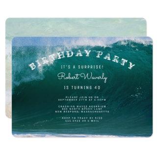 大きい波の驚きの誕生日のパーティの招待状 カード
