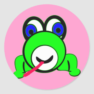 大きい注目された緑カエル ラウンドシール