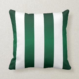 大きい白のストライプおよび深緑色 クッション