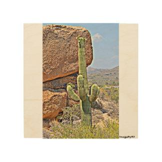 """""""大きい石のサグアロ""""の木製の壁Art. ウッドウォールアート"""