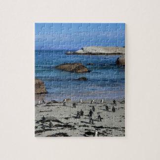 大きい石のビーチのアフリカのペンギン、ケープタウンで、 ジグソーパズル