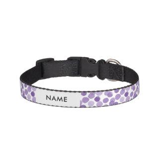 大きい紫色のドット・パターン ペット首輪