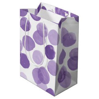 大きい紫色のドット・パターン ミディアムペーパーバッグ