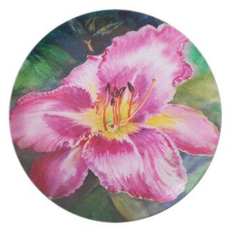 大きい紫色のピンクの花-水彩画 プレート