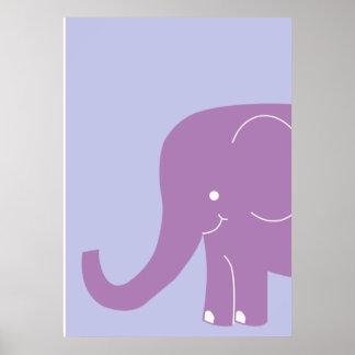 大きい紫色象の壁の芸術 ポスター