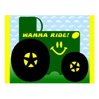 大きい緑のトラクター ポストカード