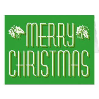 大きい緑のメリークリスマスカード カード