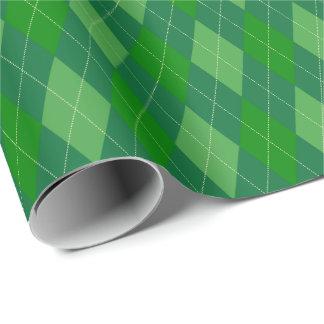 大きい緑の調子のアーガイル柄のな包装紙 ラッピングペーパー
