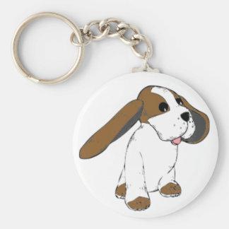 大きい耳付つきのバセット犬犬 キーホルダー