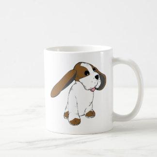 大きい耳付つきのバセット犬犬 コーヒーマグカップ