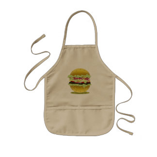 大きい脂肪質の水分が多いハンバーガーのエプロン 子供用エプロン
