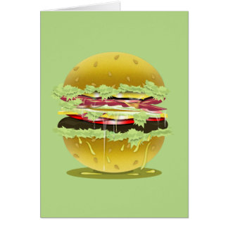 大きい脂肪質の水分が多いハンバーガーの挨拶またはメッセージカード カード