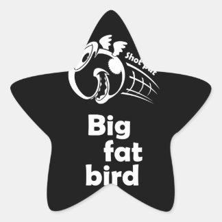 大きい脂肪質の砲丸投げ鳥 星シール