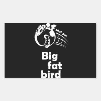 大きい脂肪質の砲丸投げ鳥 長方形シール