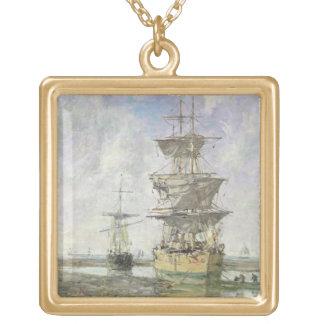 大きい船1879年(キャンバスの油) ゴールドプレートネックレス