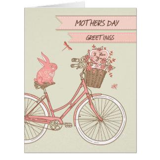 大きい花のバスケットが付いている母の日のレトロの自転車 カード