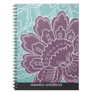 大きい花のモチーフの名前入りなノート ノートブック