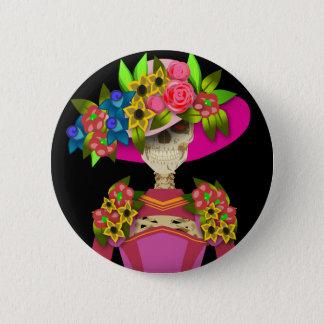 大きい花の帽子が付いている骨組 5.7CM 丸型バッジ