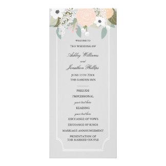 大きい花の結婚式プログラム フルカラーラックカード