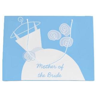 大きい花嫁の婚礼衣裳の青い母 ラージペーパーバッグ