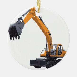 大きい袋詰め作業者の掘削機 セラミックオーナメント