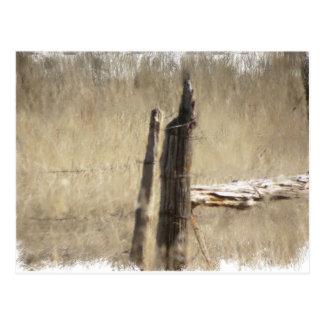 大きい角の古い塀のポスト、ワイオミング ポストカード