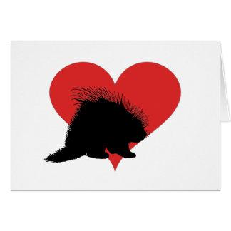 大きい赤いハートを持つヤマアラシ カード