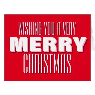 大きい赤の非常にメリークリスマスカード カード