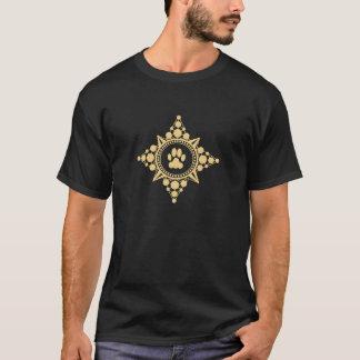 大きい金ゴールドのコンパス面図 Tシャツ