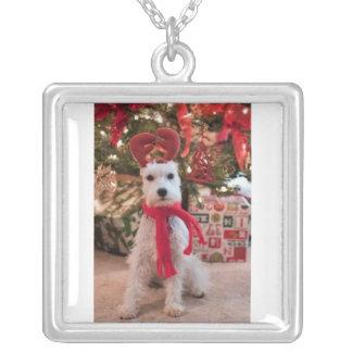 大きい銀によってめっきされる正方形のネックレス--クリスマス犬 シルバープレートネックレス