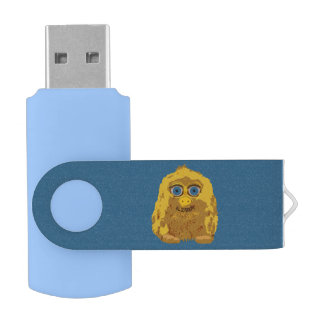 大きい青い目を持つかわいく黄色いビッグフット USBフラッシュドライブ